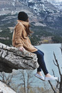 Camel-wool-pink-martini-coat-blue-high-waisted-levis-jeans