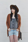 Dark-brown-leather-hat-goorin-bros-hat-light-blue-denim-shorts-roxy-shorts
