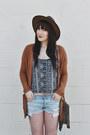 Dark-brown-leather-hat-goorin-bros-hat-light-blue-denim-shorts-roxy-shorts