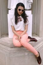 salmon American Apparel pants - Aldo shoes - Urban Outfitters sunglasses