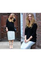 cashmere Zara sweater - French Connection skirt - Aldo sandals