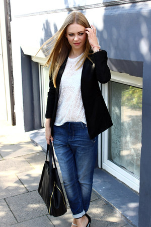 black leather Mango blazer - white Mango shirt - navy mac pants - Aldo sandals