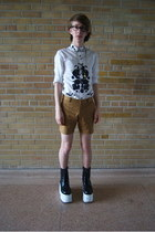 black platforms boots - white asos shirt - bronze American Apparel shorts
