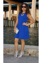 blue Gap dress - white cut out Vince Camuto boots - white Vince Camuto purse