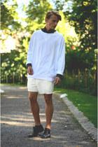 Monki sweater - H&M shirt - weekday shorts