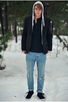 Cheap Monday jeans - Blck blazer - Zara hoodie - H&M t-shirt