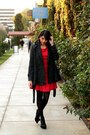 Red-modcloth-dress-charcoal-gray-modcloth-coat-black-shoedazzle-pumps