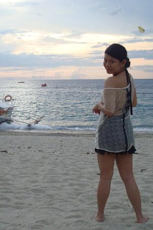cream Topshop top - black fringed Forever21 skirt - black Wildflower swimwear