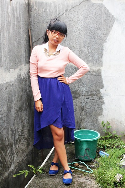 blue Zara skirt - grahayuna necklace - unbranded flats