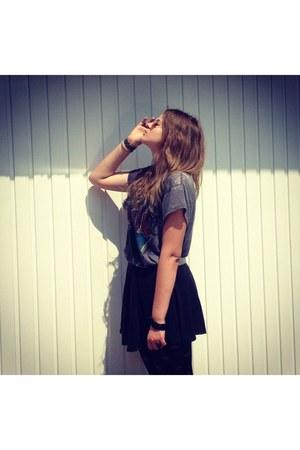 black H&M skirt - silver acdc H&M t-shirt