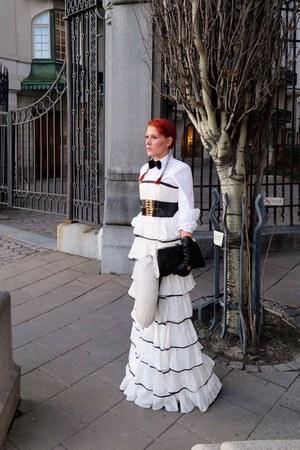 black Chanel bag - white dress - black belt