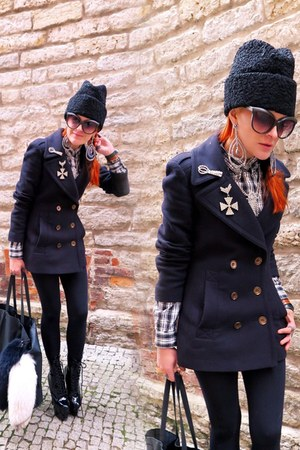 navy coat - dark brown sunglasses