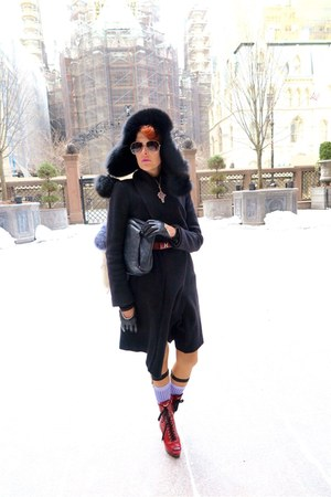ruby red Miu Miu boots - black Chanel bag - brick red belt