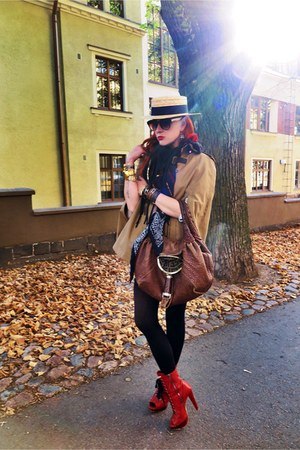 red Miu Miu boots - dark gray scarf - brown bag - camel cape