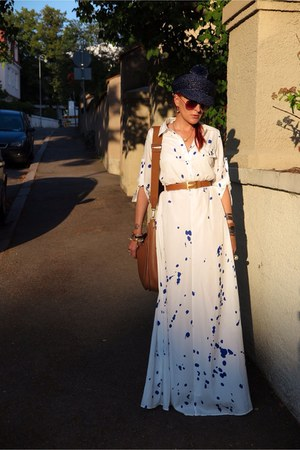 white Choies dress - navy burberry hat - bronze hermes bag