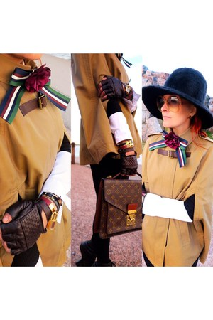 dark brown Louis Vuitton bag - camel cape - maroon asos tie
