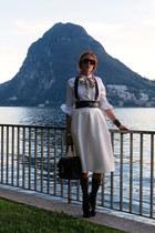 white Louis Vuitton scarf - black bag - white Topshop skirt
