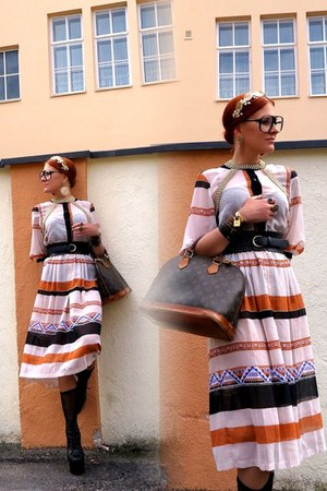 white vintage dress - brown Louis Vuitton bag - camel Topshop earrings