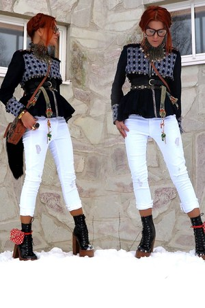 white Zara jeans - ruby red Chanel bag - brown bag - navy Zara blouse