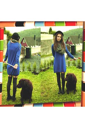 black doc martens boots - blue hm dress - black Bik Bok hat - heather gray knitt