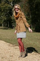 brown vintage coat - light brown Dolce Vita boots - navy Gap dress