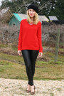 Red-gap-sweater-black-zara-leggings-light-brown-nine-west-flats