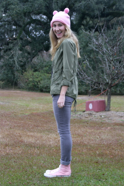 army green American Eagle jacket - heather gray Levis jeans