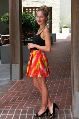 red self-made skirt - black New York & Company top - black liz claiborne heels