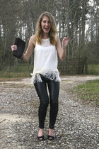 cream blouse - black Zara leggings - deep purple DKNY purse