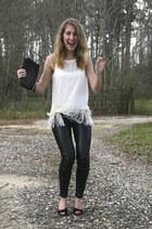cream blouse - black Zara leggings - deep purple DKNY purse