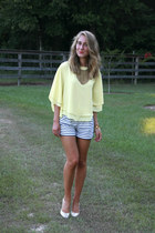 light yellow Altard State blouse - white J Crew shorts