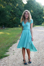Turquoise-blue-forever21-dress-teal-nine-west-sandals