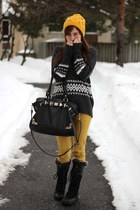 mustard H&M jeans - black the north face boots - mustard Ardene hat