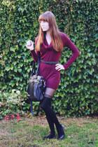 maroon sweater Smart Set dress - black stripe Aldo tights