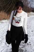 white french bulldog Old Navy sweater - black Aldo hat
