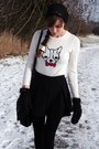 Black-aldo-hat-white-french-bulldog-old-navy-sweater