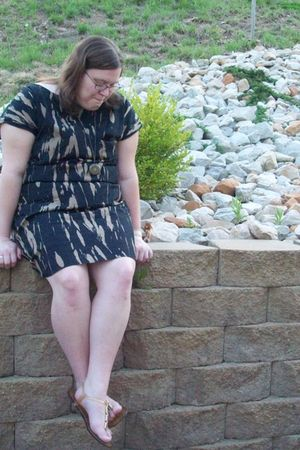 brown Old Navy dress - brown Old Navy shoes - brown necklace
