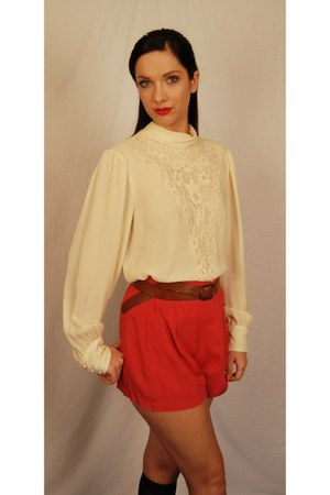 red cute Forever 21 shorts - vintage from etsy blouse