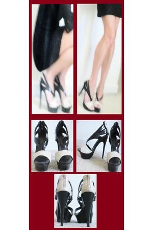 beige Forever 21 heels - black na NA heels
