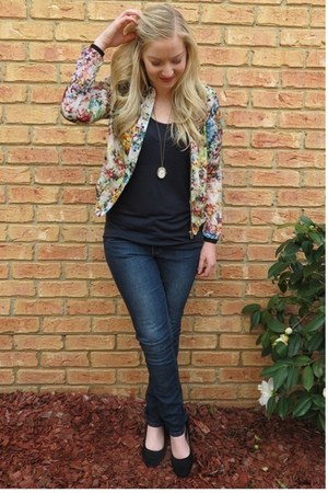 bomber Zara jacket - navy Jay Jays jeans - black American Apparel top