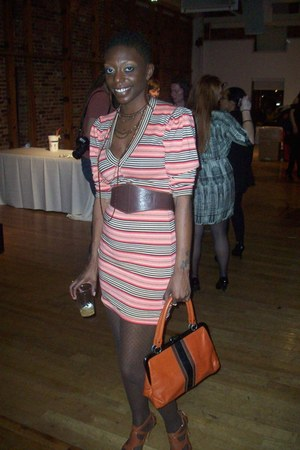 stripes Neasa Leano dress - brown stripes thrifted vintage purse - beaded thrift