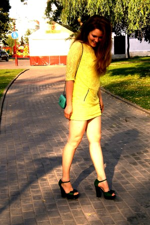 yellow reserved dress - dark green unknown brand shoes - teal Chanel bag