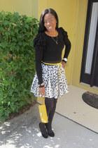 yellow Nine West bag - Forever 21 skirt - Michael Kors watch