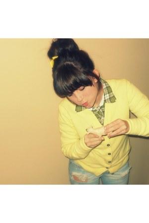 wool yellow cardigan cardigan