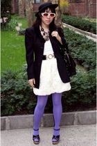 H&M dress - Forever 21 hat - YSL shoes - Topshop tights - Vintage Moschino jacke