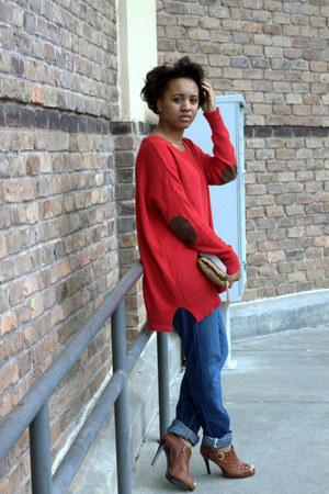 Zara sweater - oversized jeans Levis jeans - cognac peeptoes Bakers heels