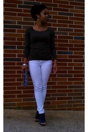 white skinny jeans Forever 21 jeans - brown cotton H&M dress - black zebra purse