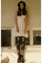 black Denis boots - white mystic dress