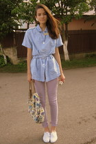 white handmade necklace - white lace shoes - light purple Primark jeans