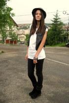 black Tally Vejil jeans - black Leather DIY vest - white H&M t-shirt
